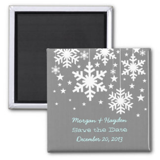 Grey Snowflakes and Stars Save the Date Magnet
