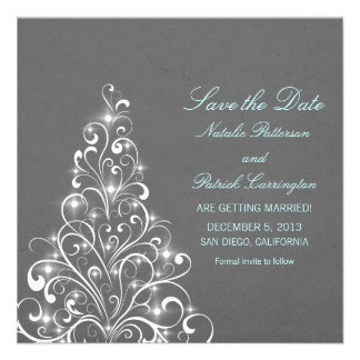 Grey Sparkly Holiday Tree Save the Date Invite