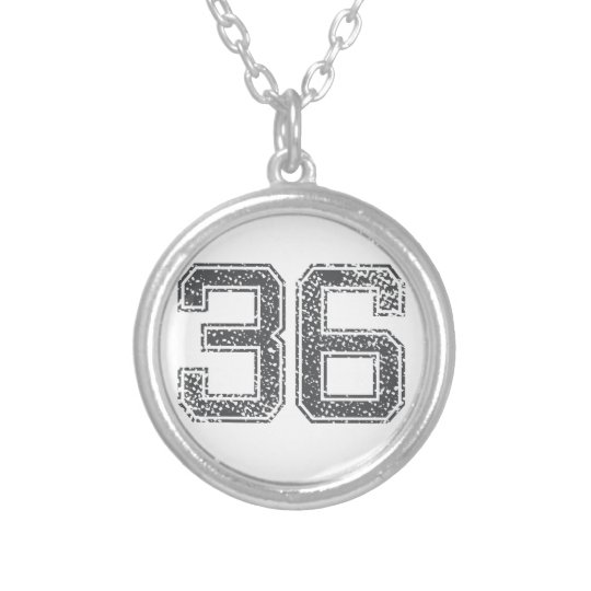 Grey Sports Jersey #36 Silver Plated Necklace