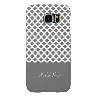 Grey square grid Monogram Samsung Galaxy S6 Cases