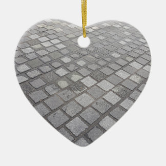 Grey Square Paving Background Christmas Ornament