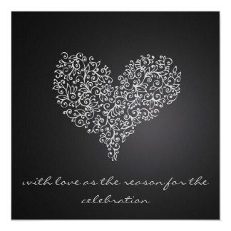 "grey square wedding invitation ""with love"""