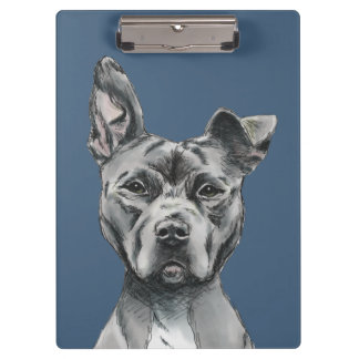 Grey Stalky Pit Bull Dog Drawing Clipboard