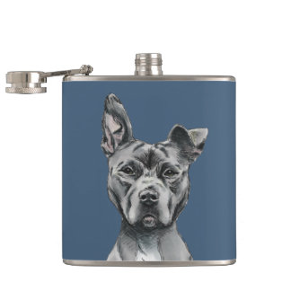 Grey Stalky Pit Bull Dog Drawing Hip Flask