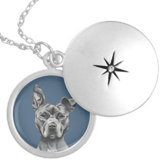 Grey Stalky Pit Bull Dog Drawing Locket Necklace