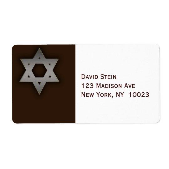 Grey Star of David accent address labels
