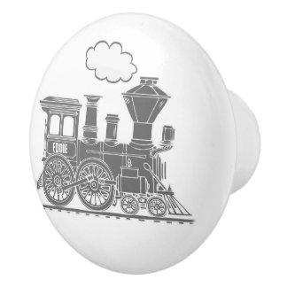 Grey steam train custom art doorknob ceramic knob