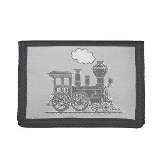 Grey steam train engine name boiler plate wallet