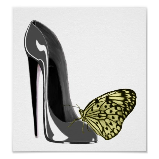 Grey Stiletto High Heel Shoe and Yellow Butterfly