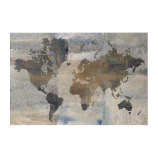 Grey Stone Map Of The World Acrylic Print