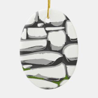 Grey Stone Wall Ceramic Oval Decoration