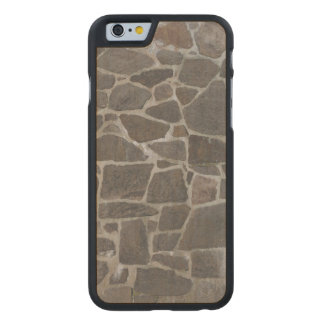 Grey stone wall texture carved maple iPhone 6 case