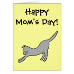 Grey Stretching Cat on Yellow Happy Mum's Day! Greeting Card
