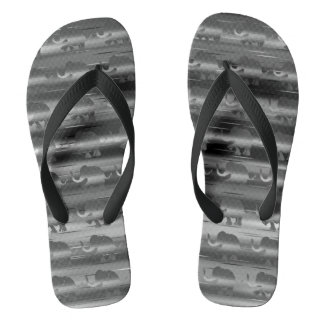 Grey Striped Elephant Pattern Flip Flops