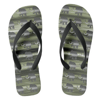 Grey Striped Elephants on Camouflage Olive-Green Flip Flops