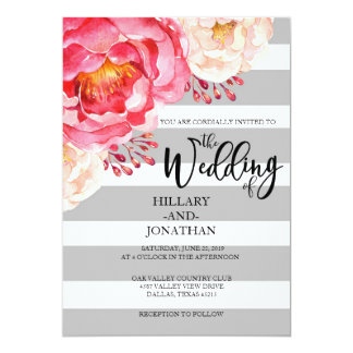 Grey Striped Floral Invitation