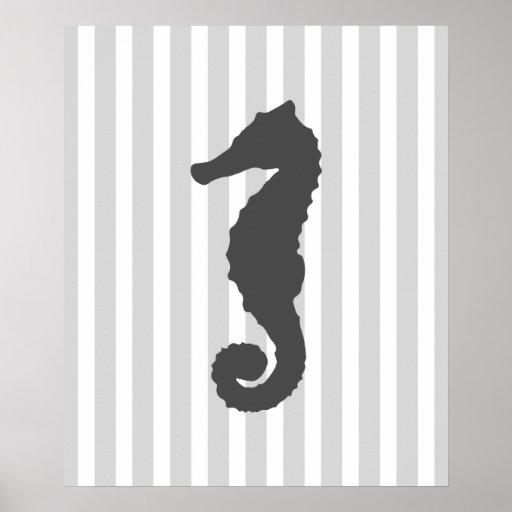 Grey Striped Nautical Print