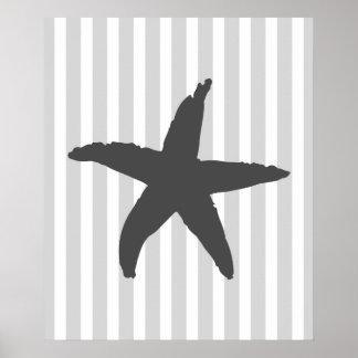 Grey Striped Nautical Sea Star Poster