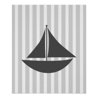 Grey Striped Nautical Ship Poster