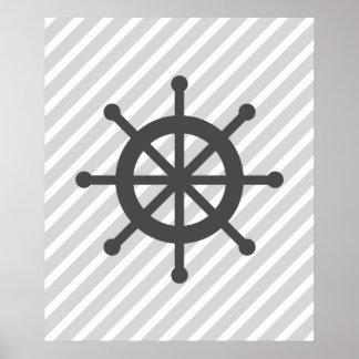 Grey Striped Nautical Ship Wheel Print