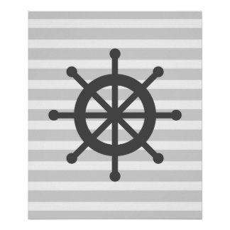 Grey Striped Nautical Ship Wheel Posters