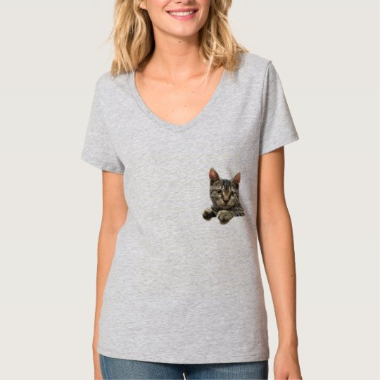Grey Striped Tabby Cat T-Shirt for Women