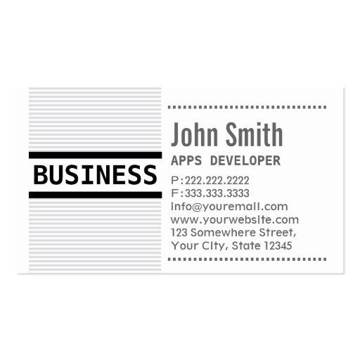 Grey Stripes Apps developer Business Card