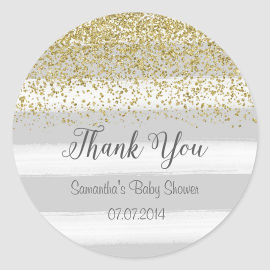 Grey Stripes Baby Shower Sticker