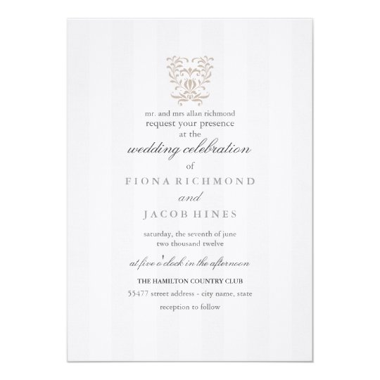 Grey Stripes & Brown Damask Wedding Invitation