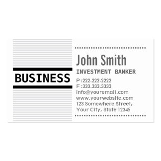 Grey Stripes Investment Banker Business Card