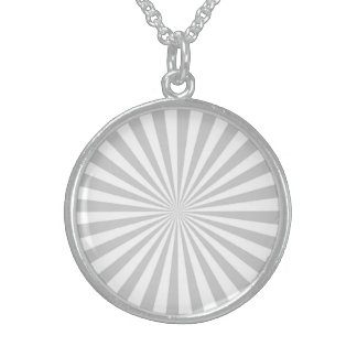 Grey Sun Burst Spinning Wheel Customize This Round Pendant Necklace