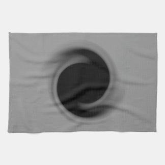 Grey swirling black hole tea towel
