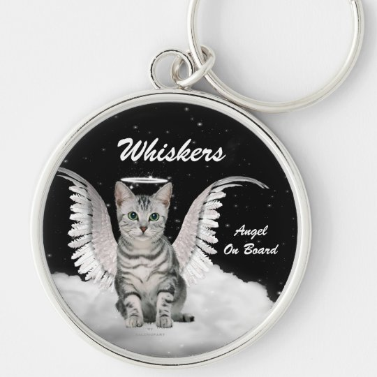 Grey Tabby Angel Cat Sweet Custom Key Ring