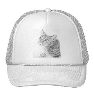 Grey Tabby Cat Drawing Trucker Hats