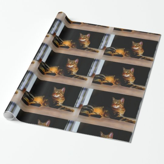 Grey Tabby cat wrapping paper