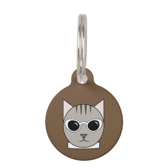 Grey Tabby in White Cat's-Eye Sunglasses Cat Tag