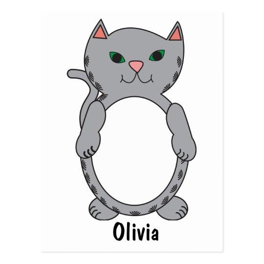 Grey Tabby Kitty Cat Cute Personalise Postcard