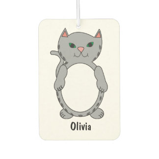 Grey Tabby Kitty Cat Feline Personalise Car Air Freshener