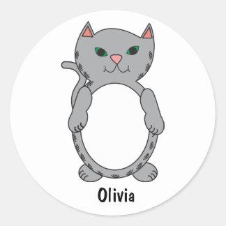 Grey Tabby Kitty Cat Kitten Feline Personalise Classic Round Sticker