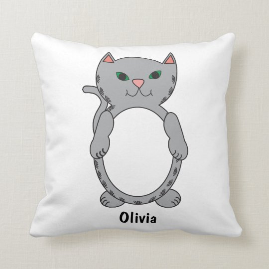Grey Tabby Kitty Cat Kitten Personalise Cushion
