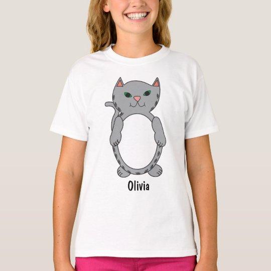 Grey Tabby Kitty Cat Kitten Personalise T-Shirt