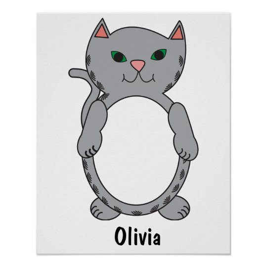 Grey Tabby Kitty Cat Stripes Personalise Poster