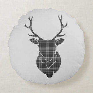 Grey Tartan Pattern And Stag Head Antler Rustic Round Cushion