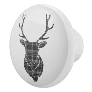 Grey Tartan Stag Head Antler Rustic Ceramic Knob