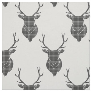 Grey Tartan Stag Head Antler Rustic Pattern Fabric