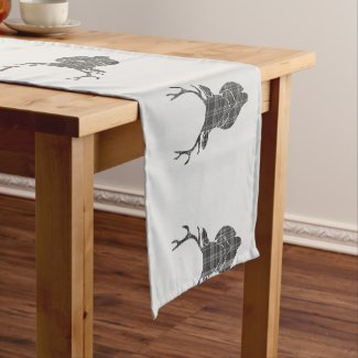 Grey Tartan Stag Head Antler Rustic Short Table Runner