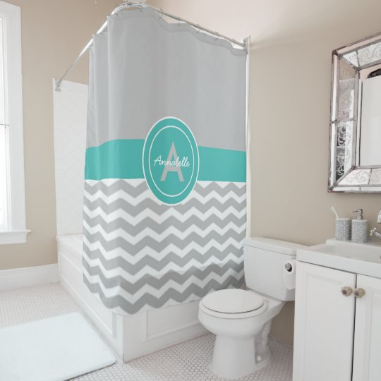 Grey Teal Chevron Shower Curtain