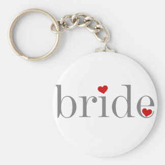 Grey Text Bride Basic Round Button Key Ring