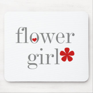 Grey Text Flower Girl Mouse Pad