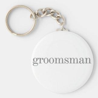 Grey Text Groomsman Basic Round Button Key Ring